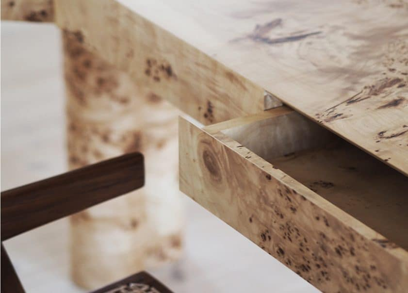 Bespoke designed elegant contemporary elmwood desk with a drawer detail